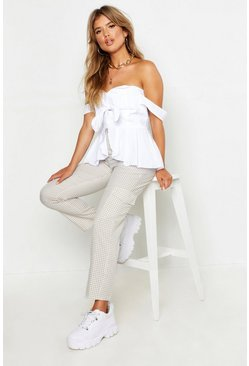 Womens White Knot Front Peplum Top
