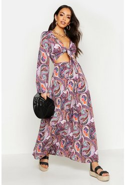 Womens Purple Woven Paisley Cut Out Maxi Dress