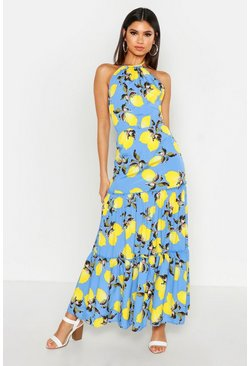 Womens Cornflower blue Woven Tie Neck Backless Tiered Maxi Dress