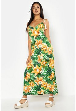 Womens Green Woven Tassel Floral Palm Maxi Dress