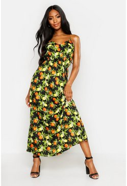 Womens Black Woven Fruit Print Cross Back Maxi Dress