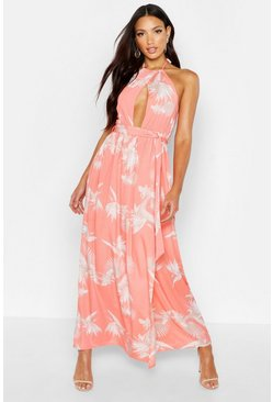 Womens Coral Woven Floral Halterneck Cross Front Maxi Dress