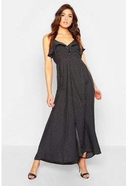Womens Black Woven Polka Dot Covered Button Maxi Dress
