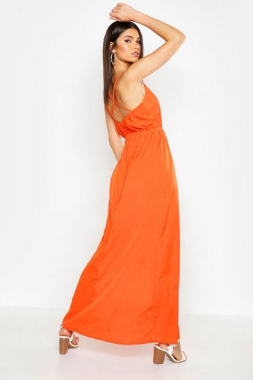Womens Orange Woven V Neck Strappy Back Maxi Dress