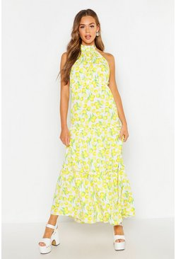 Womens White Woven Lemon Ruffle Halter Neck Maxi Dress