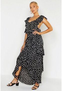 Womens Black Woven Spot Ruffle Split Maxi Dress