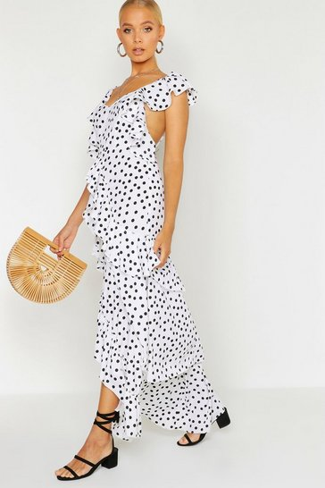 Womens White Woven Spot Ruffle Split Maxi Dress