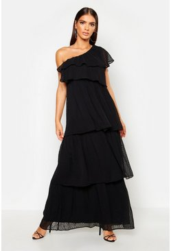 Womens Black Dobby One Shoulder Extreme Tiered Maxi Dress