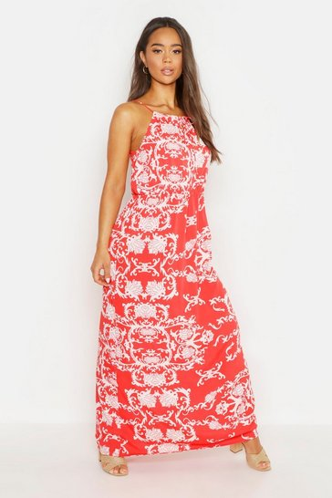 Womens Red Woven Strappy Key Hole Maxi Dress