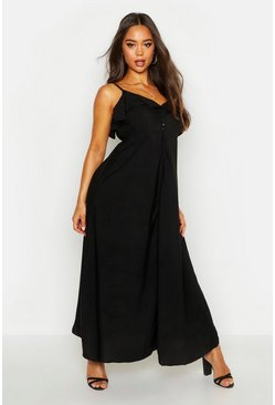 Woven Covered Button Ruffle Maxi Dress, Black, MUJER