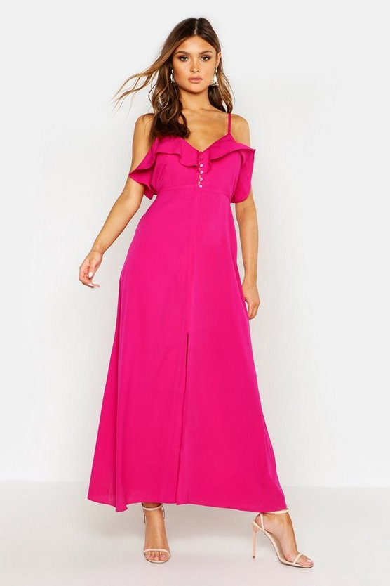 Womens Hot pink Woven Covered Button Ruffle Maxi Dress