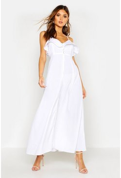 Woven Covered Button Ruffle Maxi Dress, White, Donna