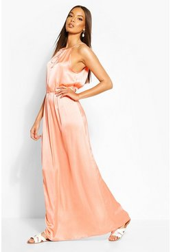 Coral Woven Strappy Keyhole Maxi Dress