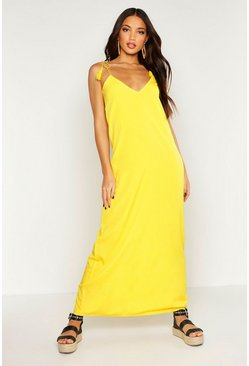 Woven Tassel Tie Maxi Dress, Yellow