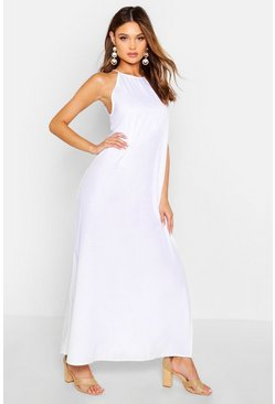 White High Neck Trapeze Maxi Dress