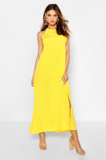Yellow High Neck Trapeze Maxi Dress