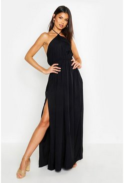 Womens Black Woven Tie Back Plunge Maxi Dress