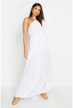 White Woven Tie Back Plunge Maxi Dress