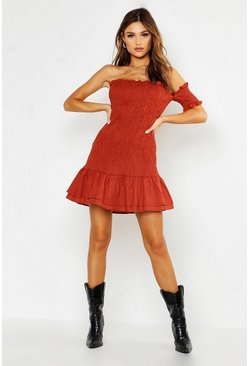 Womens Rust Woven One Sleeve Shirred Mini Dress