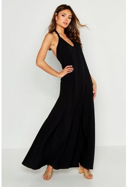 Womens Black Woven Tie Neck Plunge Maxi Dress