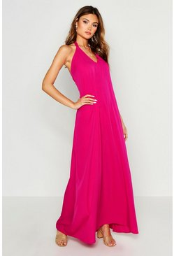 Hot pink Woven Tie Neck Plunge Maxi Dress