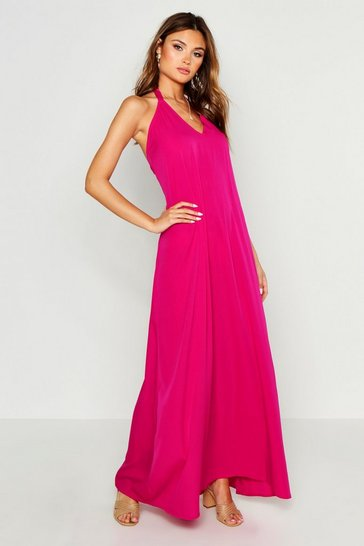 Womens Hot pink Woven Tie Neck Plunge Maxi Dress