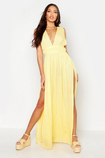 Womens Yellow Cheesecloth Plunge Maxi Dress
