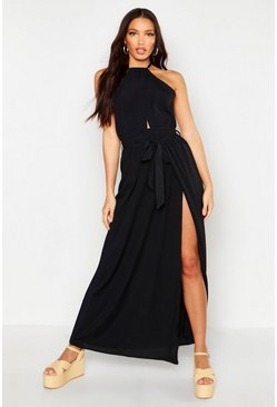 Black Woven Halterneck Extreme Split Maxi Dress