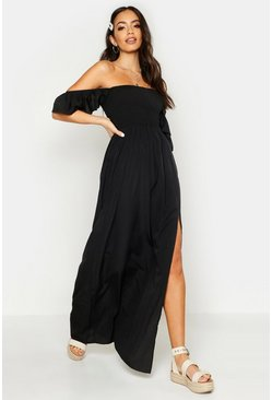 Womens Black Woven Shirred Flutter Sleeve Split Maxi Dress
