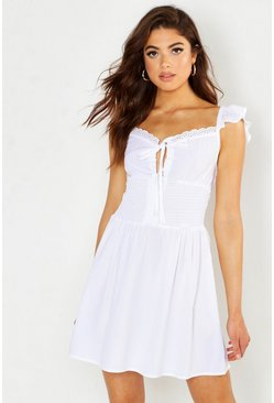 White Shirred Cap Sleeve Peasant Dress