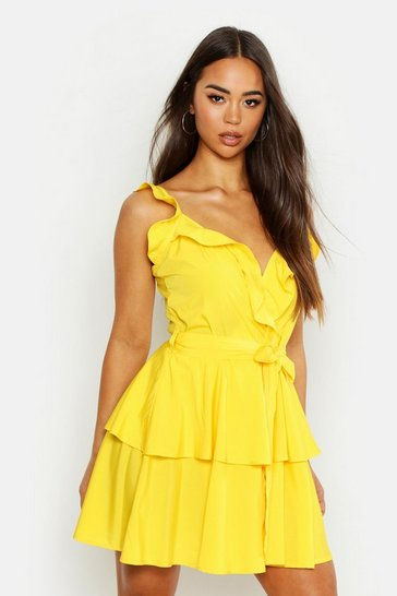 Womens Yellow Woven Wrap Ruffle Mini Dress