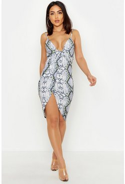 Womens Grey Snake Print Plunge Twist Midi Dress