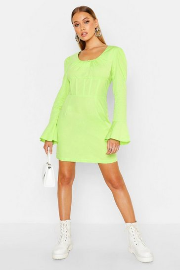 Womens Lime Corset Detail Flared Sleeve Mini Dress
