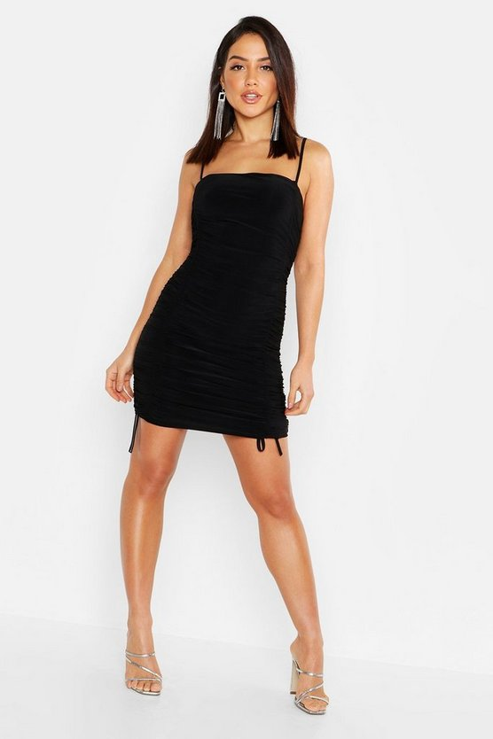 Womens Black Double Slinky Ruched Front Bodycon Dress