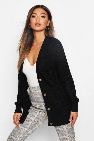 Womens Black Button Through Cardigan