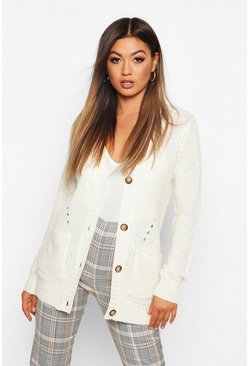 Womens Ivory Button Through Cardigan