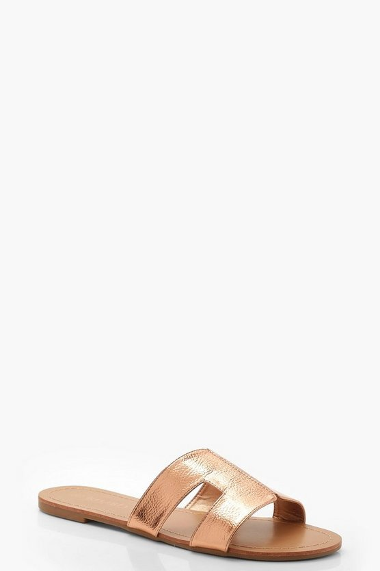 Womens Rose gold Cut Work Detail Sliders