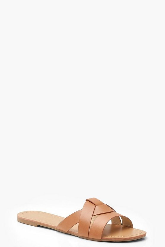 Womens Tan Asymmetric Sliders