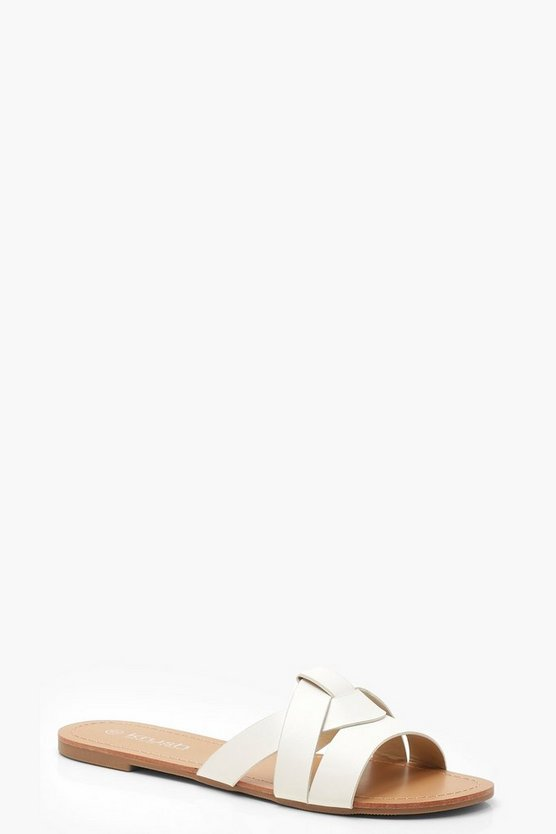 Womens White Asymmetric Sliders