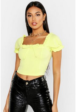 Lime Scuba Neon Peasant Top
