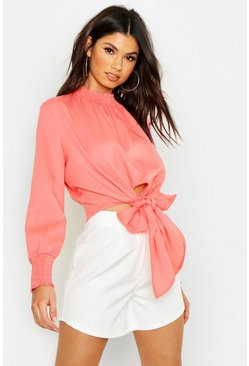 Womens Coral Woven Shirred Collar Tie Front Blouse