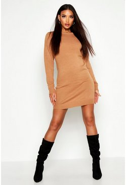 Womens Camel Crew Neck Long Sleeve Dress