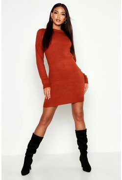 Womens Ginger Crew Neck Long Sleeve Dress