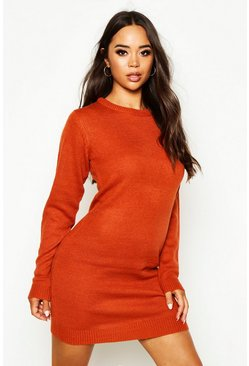 Rust Crew Neck Long Sleeve Dress