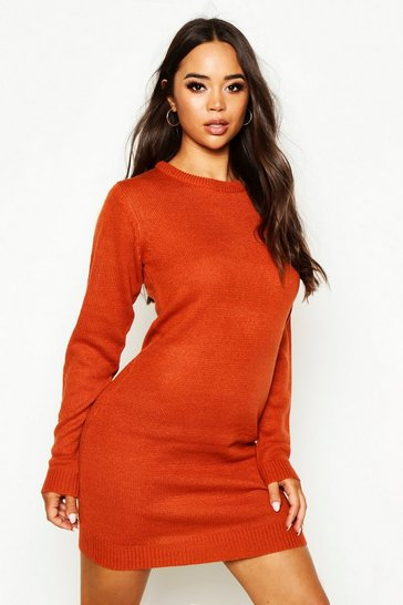 Womens Rust Crew Neck Long Sleeve Dress