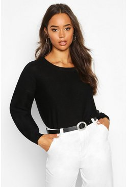 Womens Black Boxy Scoop Neck Jumper