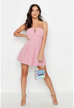 Womens Soft pink Bandeau V Bar Pocket Skater Dress