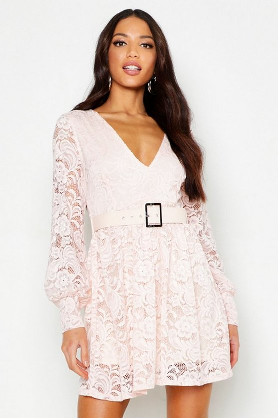 Womens Nude Belted Plunge Lace Skater Dress