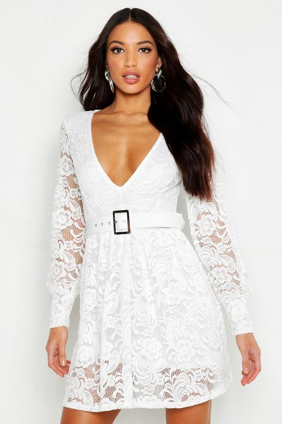 Womens White Belted Plunge Lace Skater Dress