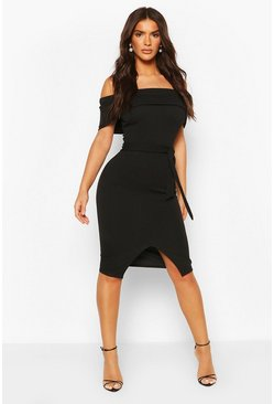 Womens Black Off The Shoulder Fold Over Split Midi Bodycon Dress